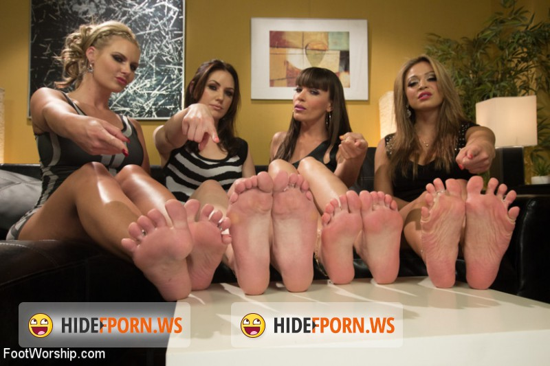FootWorship.com/Kink.com - Dana DeArmond, Phoenix Marie, Sarah Shevon, Mia Lelani - Cum Covered Toes In Clear Heels: A members request! [HD 720p]