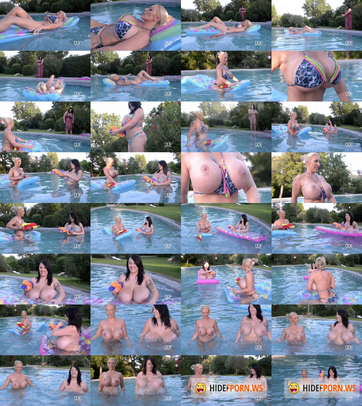 Delzangel, Leanne Crow - Floating Gazongas: Two British Bombshells With Big Tits In The Pool [HD]