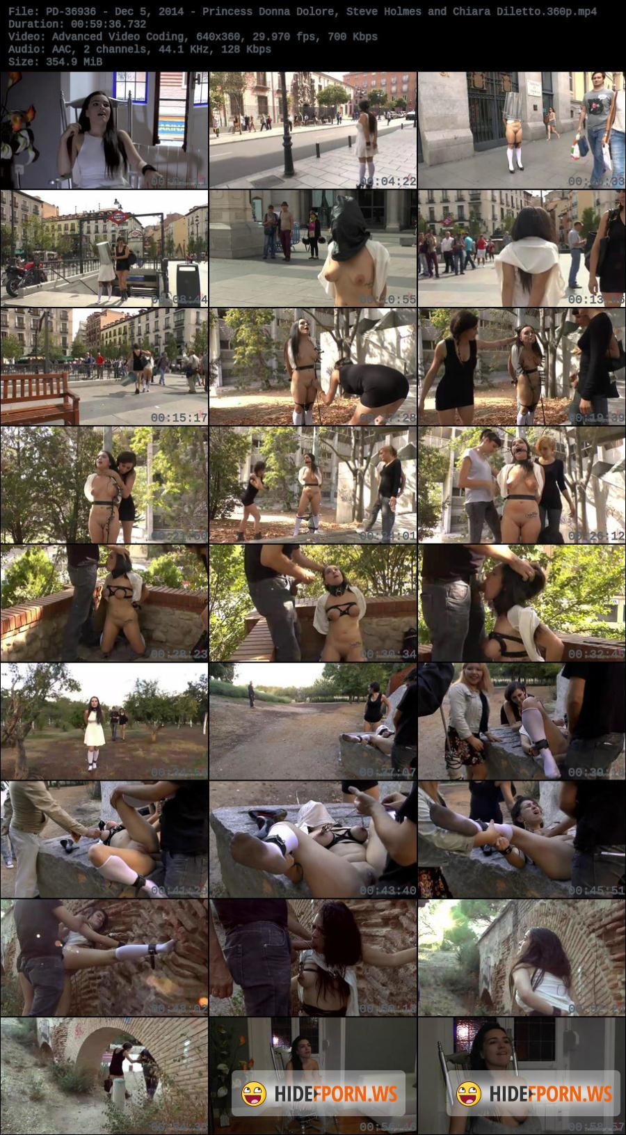 Kink.com - Chiara Diletto, Princess Donna Dolore, Steve Holmes - Sexy Spanish Slut Chiara fully exposed on the streets of Madrid [SiteRip]