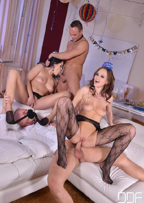HotLegsAndFeet.com/DDFNetwork.com - Tina Kay, Dolly Diore - Sexy Resolutions: Lustful Foursome On New Years Eve [FullHD]
