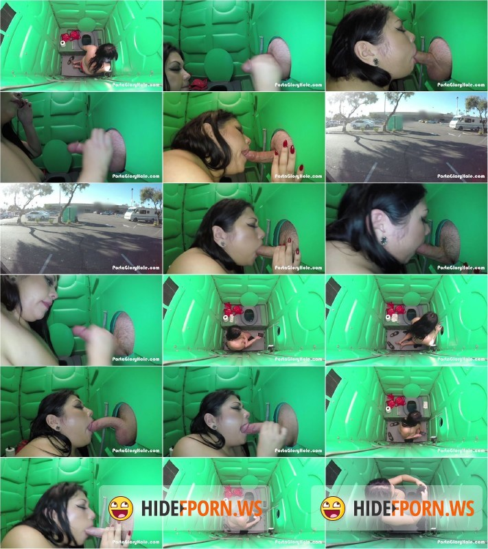 PortaGloryhole.com - Scarlet - Horny girl gives strangers blowjobs in Portable Restroom in public [SD 540p]