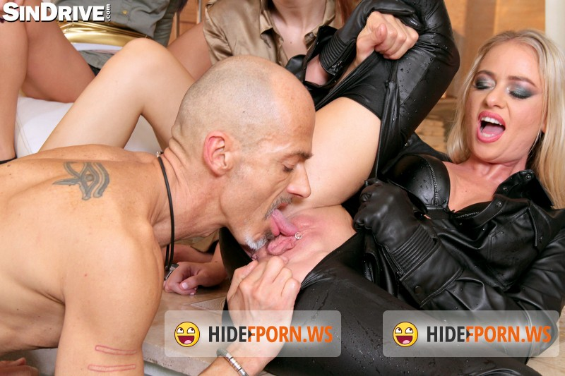 SinDrive: Tiffany Doll, Dorina Golden, Nomi Melone  - Fully Leathered Blondie Bangs Poolside - Excessive Partying With Hailing Pals And Nasty Gals: Ready For Action! [FullHD]