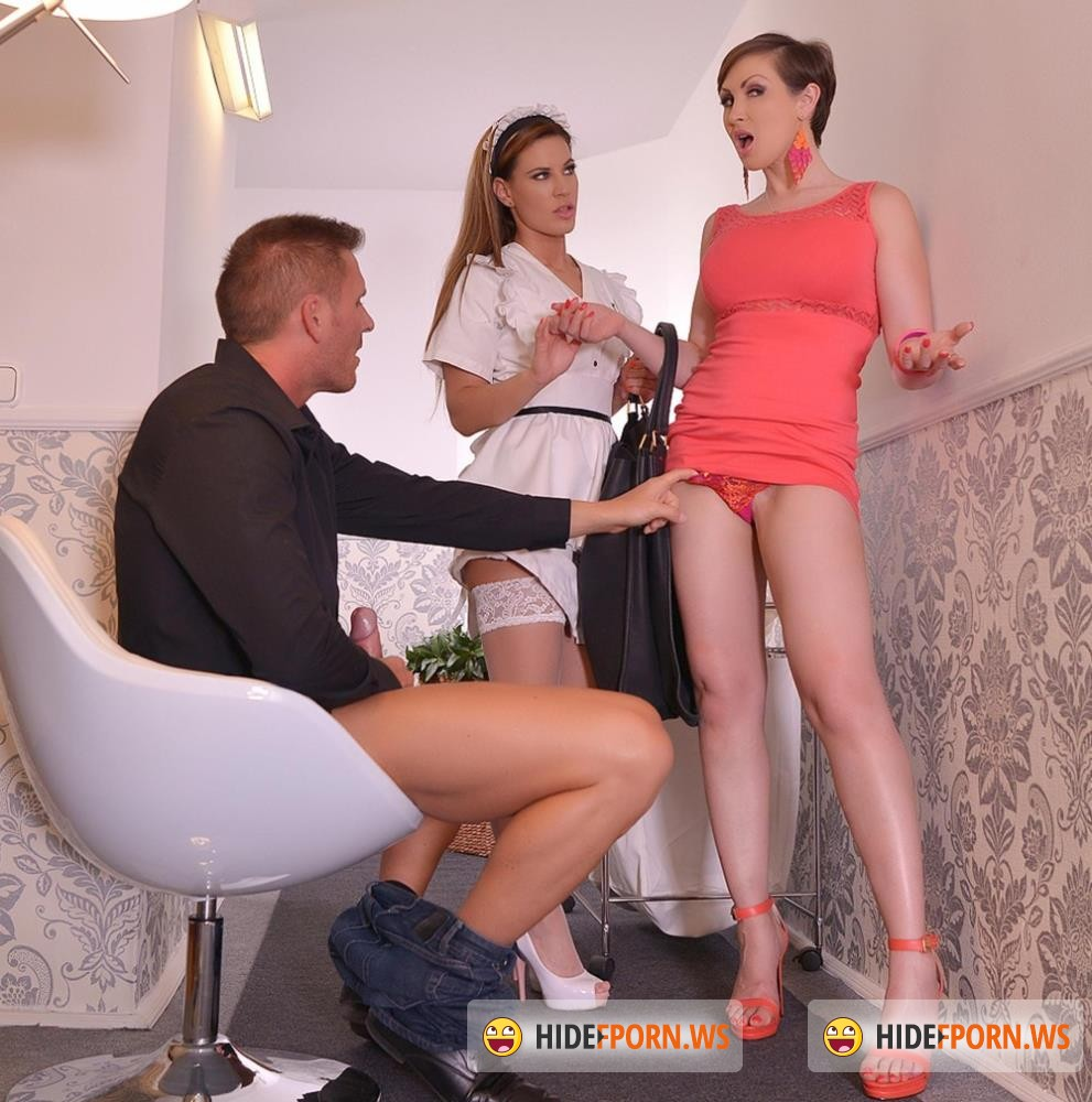 OnlyBlowJob/DDFNetwork - Athina, Yasmin Scott - The Upskirt Gawker - Filthy Cock Sharing In Hotel Corridor [FullHD 1080p]