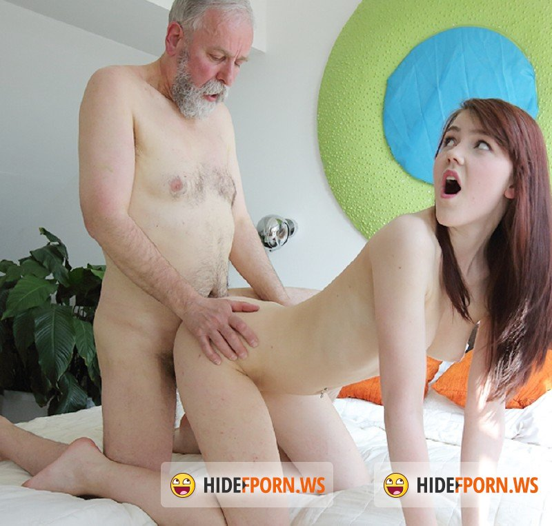 OldGoesYoung.com - Geny - Unexpected sex visitor joins masturbating brunette through a window [SD 480p]