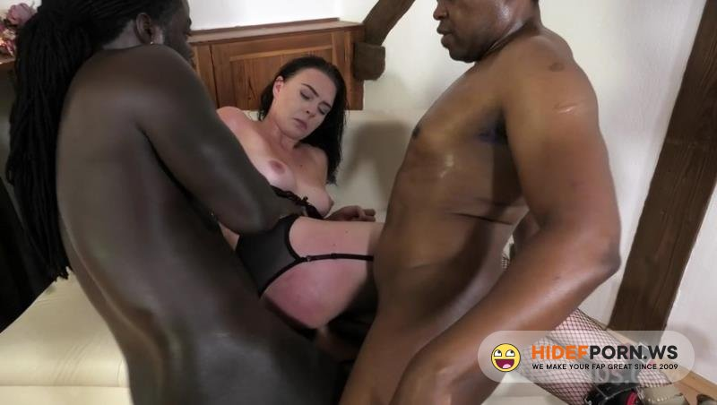 LegalPorno - Adelis Shaman, Joachim Kessef, Darnell Black - Keira Flow first time BBC double penetration with Bondage, Balls deep, BDSM NF022 [HD 720p]