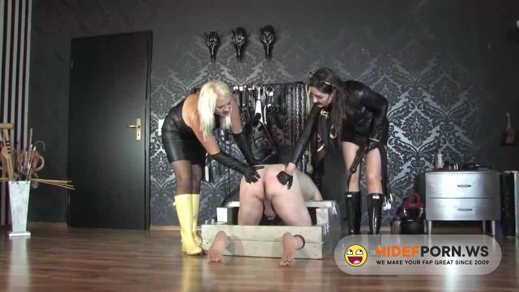 GermanFemdomLadyVictoriaValente - Divine Mistress Heather And Victoria Valente - Whipping The Slave Ass In Leather And Hunter Wellingtons Boots [HD 720p]