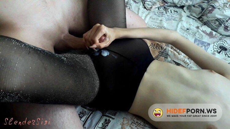 Chaturbate.com - SanyAny, Alina Rose - Gently Jerks off my Dick and I Cum on Shiny Pantyhose SlenderSisi [FullHD 1080p]